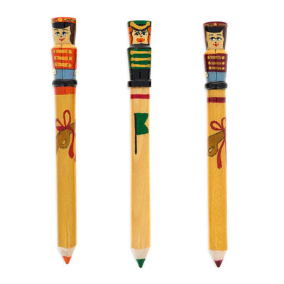 Set of 3 Giant Wooden Nutcracker Pencils 8 Inches by BestPysanky