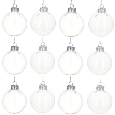 Set of 12 Clear Glass Ball Christmas Ornaments DIY Craft 2.2 Inches by BestPysanky