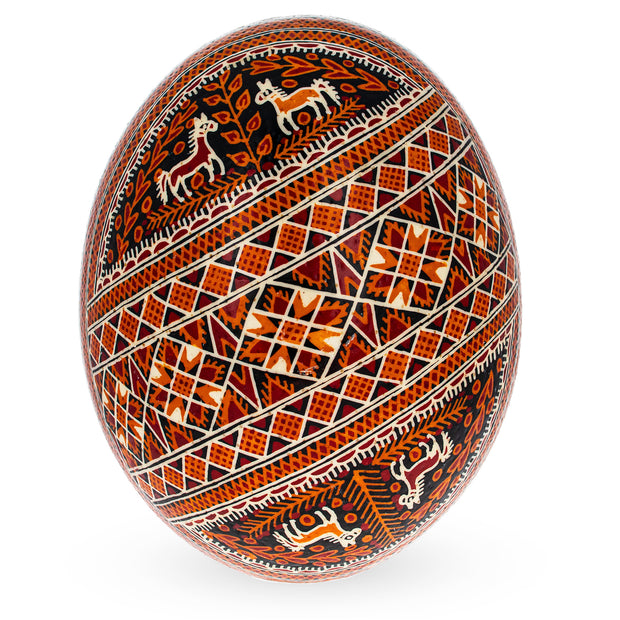 Traditional Real Ostrich Blown Hand Painted Ukrainian Easter Egg Pysanky 6.25 Inches by BestPysanky