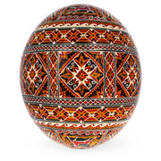 Traditional Real Ostrich Blown Hand Painted Ukrainian Easter Egg Pysanky 5.7 Inches by BestPysanky
