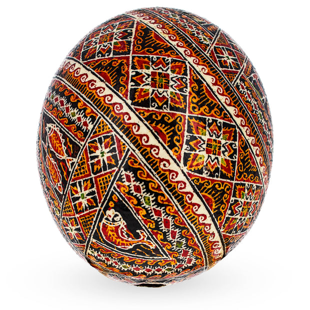 Traditional Real Ostrich Blown Hand Painted Ukrainian Easter Egg Pysanky 5.6 Inches by BestPysanky