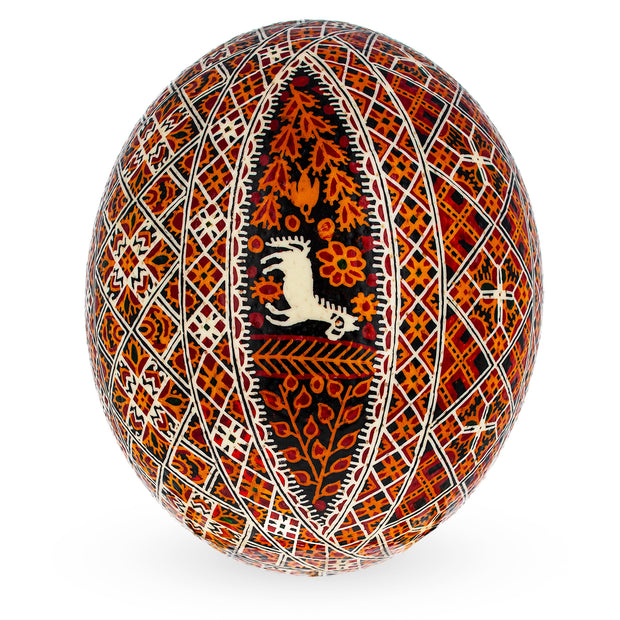 Traditional Real Ostrich Blown Hand Painted Ukrainian Easter Egg Pysanky 6.1 Inches by BestPysanky