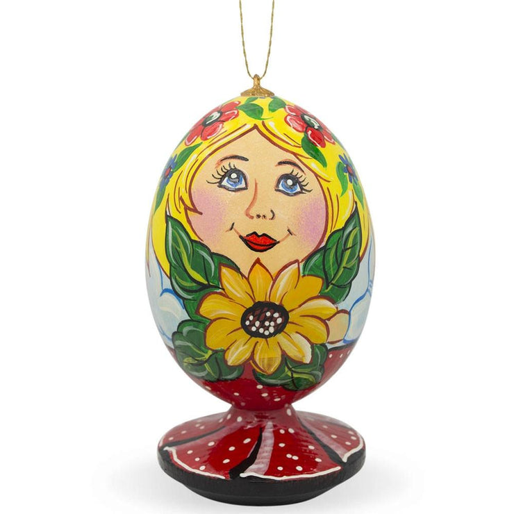 Russian Nesting Doll Matryoshka with Sunflower Wooden Christmas Ornament by BestPysanky