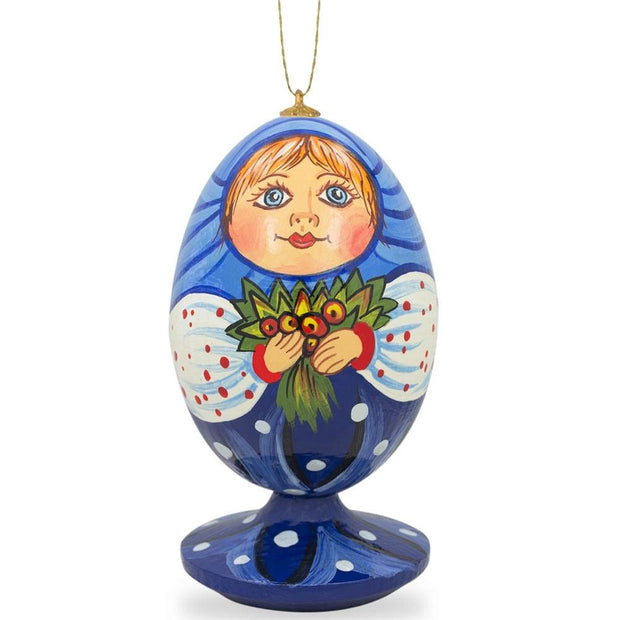 Russian Doll Matryoshka with Flower Bouquet Wooden Christmas Ornament by BestPysanky