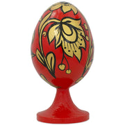Russian Khokhloma Golden Flowers Wooden Easter Egg Figurine by BestPysanky
