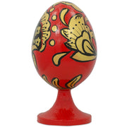 Buy Online Gift Shop Russian Khokhloma Golden Flowers Wooden Easter Egg Figurine