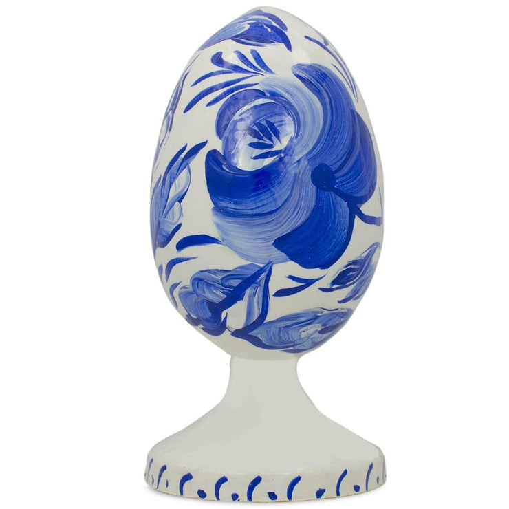 Blue Russian Gzhel Flower Wooden Easter Egg Figurine by BestPysanky