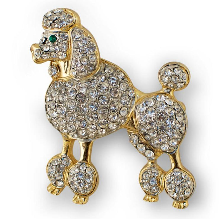 Poodle Austrian Crystal Jeweled Enamel Brooch Pin by BestPysanky