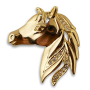 Gold Plated Horse Brooch with Crystals by BestPysanky