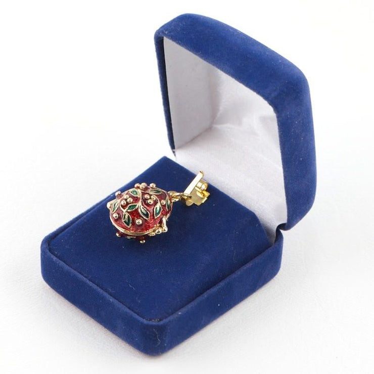 Ladybug Charm Red Russian Royal Egg Pendant Necklace 20 Inches