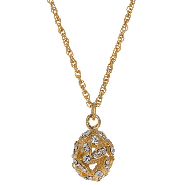 Gold Tone Crystal Leaves Royal Egg Pendant Necklace 20 Inches by BestPysanky