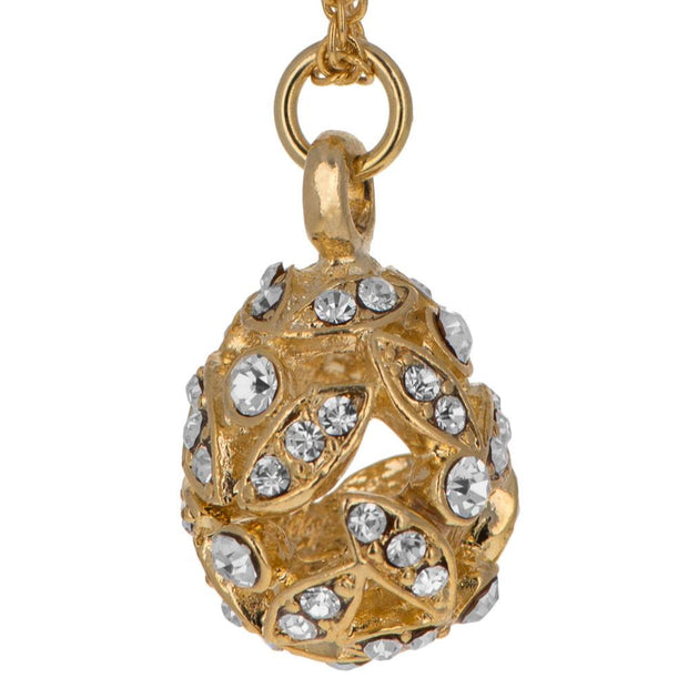 Buy Online Gift Shop Gold Tone Crystal Leaves Royal Egg Pendant Necklace 20 Inches