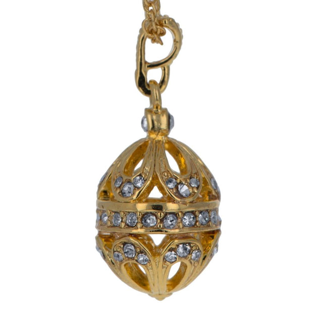 Buy Online Gift Shop Gold Tone Brass 57 Crystals Brass Royal Egg Pendant Necklace 20 Inches