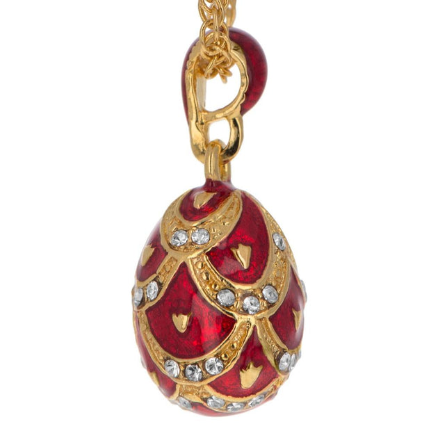 Miniature Red Pinecone 40 Crystal Royal Egg Pendant Necklace 20 Inches