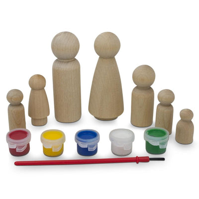 Set of 7 Blank Wooden Peg Doll Family Decorating Kit by BestPysanky