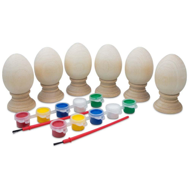 6 Unfinished Wooden Eggs with Stands with 2 Paint Sets by BestPysanky