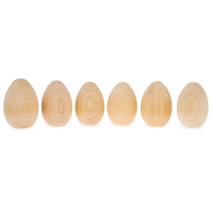6 Miniature Unfinished Blank Wooden Eggs 2 Inches by BestPysanky