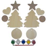 10 Christmas Tree, Hearts, Ball & Star Ornaments Unfinished Wooden Shapes Craft Cutouts DIY Unpainted 3D Plaques by BestPysanky