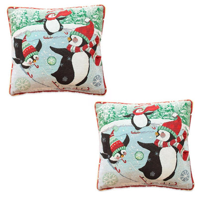 Set of 2 Skating Penguins Christmas Throw Pillow Covers by BestPysanky