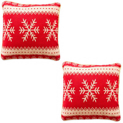Set of 2 White Snowflakes on Red Christmas Throw Cushion Pillow Covers by BestPysanky