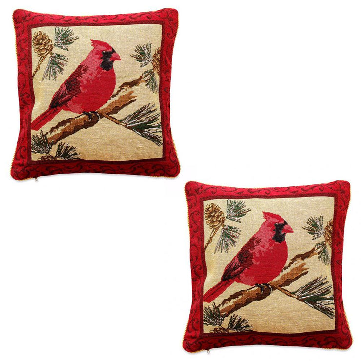 Set of 2 Red Cardinal Christmas Throw Cushion Pillow Covers by BestPysanky