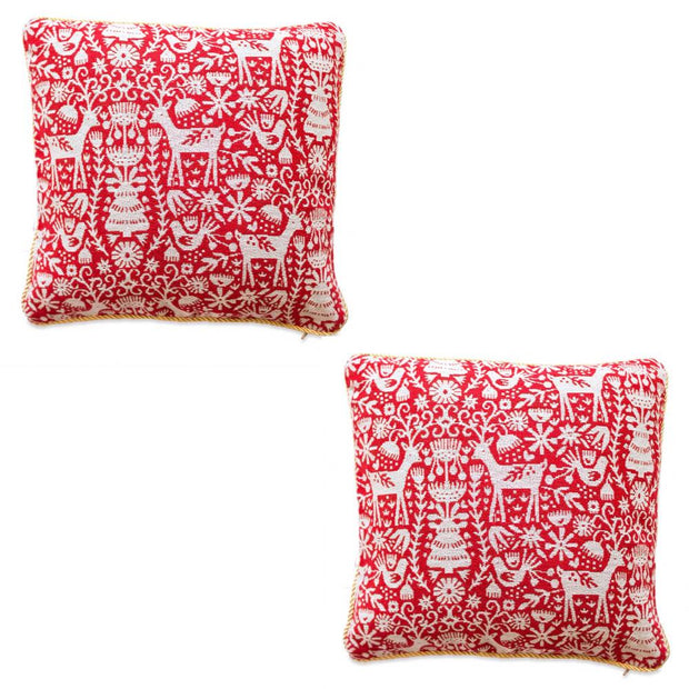 Set of 2 White Deers in the Woods Christmas Throw Cushion Pillow Covers