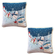 2 Snowmen Enjoying Winter Sport Parade Christmas Throw Cushion Pillow Covers by BestPysanky
