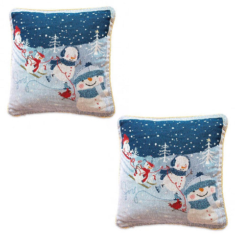 Set of 2 Snowmen Enjoying Winter Sport Parade Christmas Throw Cushion Pillow Covers
