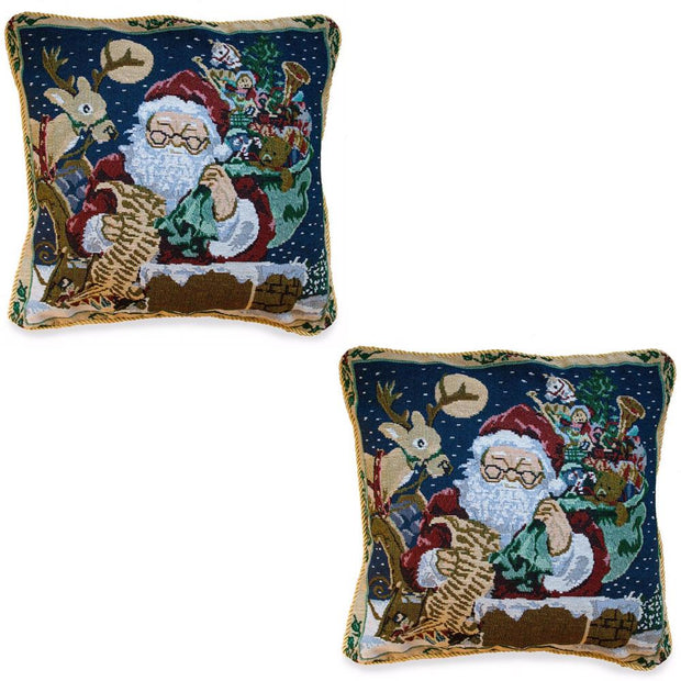 Set of 2 Santa Reading Gifts List Christmas Throw Cushion Pillow Covers by BestPysanky