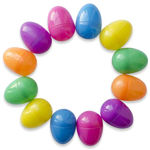 "2.25"" Set of 12 Bright Purple, Pink, Blue, Yellow, Green, Orange Plastic Eggs 