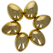 Set of 6 Very Shiny Golden Plastic Easter Eggs 2.25 Inches by BestPysanky