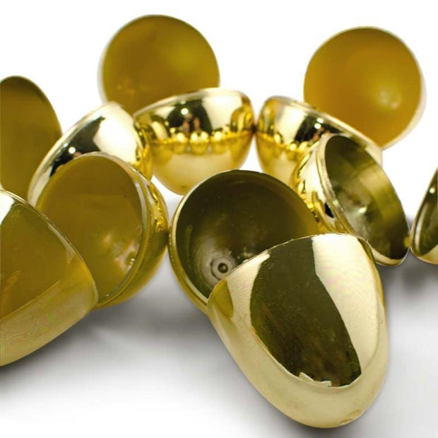 Set of 24 Very Shiny Golden Plastic Easter Eggs 2.25 Inches