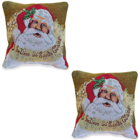 Set of 2 Believe in Santa Christmas Cushion Throw Pillow Covers