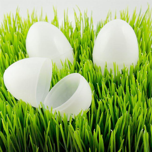Set of 12 White Plastic Easter Eggs 2.25 Inches