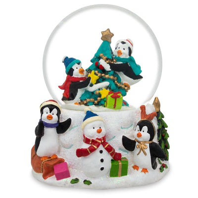Penguins Decorating Christmas Tree Water Snow Globe by BestPysanky
