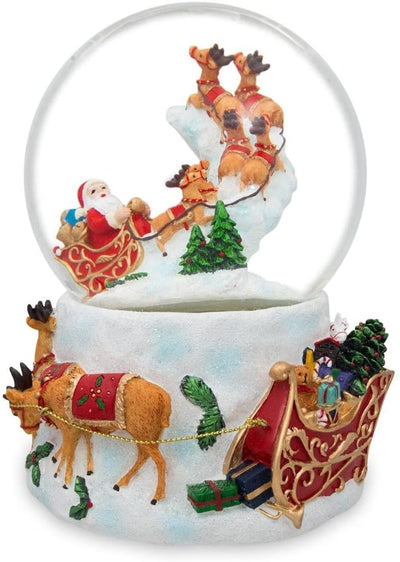 Santa Flying with Reindeer Musical Water Snow Globe by BestPysanky