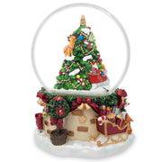 Buy Online Gift Shop Snowman & Dogs Watching Santa by Christmas Tree Musical Water Snow Globe