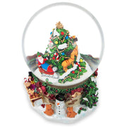 Snowman & Dogs Watching Santa by Christmas Tree Musical Water Snow Globe