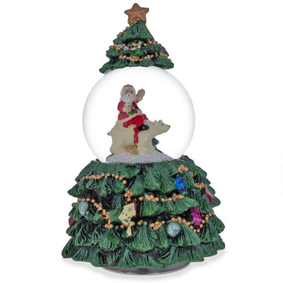Santa Riding Polar Bear in Rotating Musical Snow Globe by BestPysanky