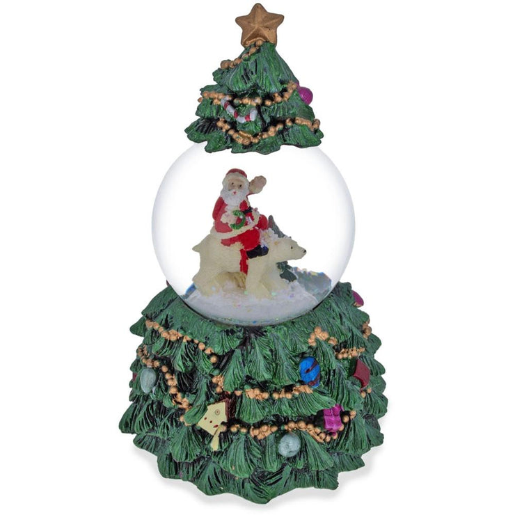 Buy Online Gift Shop Santa Riding Polar Bear in Spinning Musical Water Snow Globe Figurine