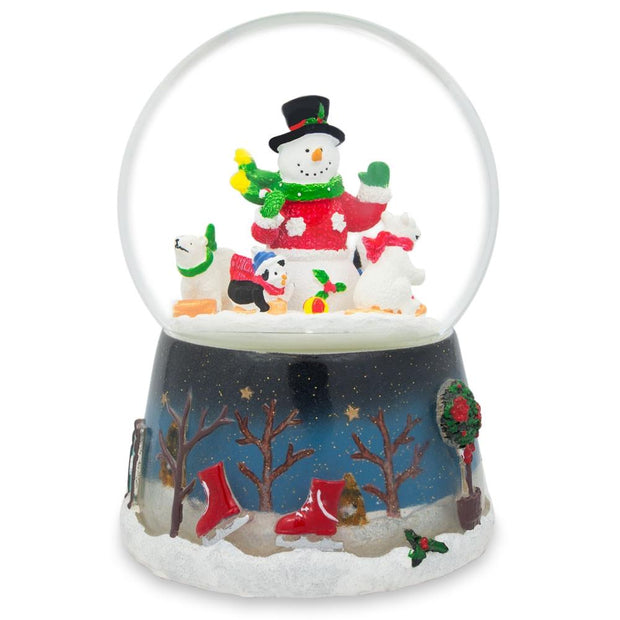 Snowman with Polar Bears and Penguins Rotating Musical Water Globe by BestPysanky