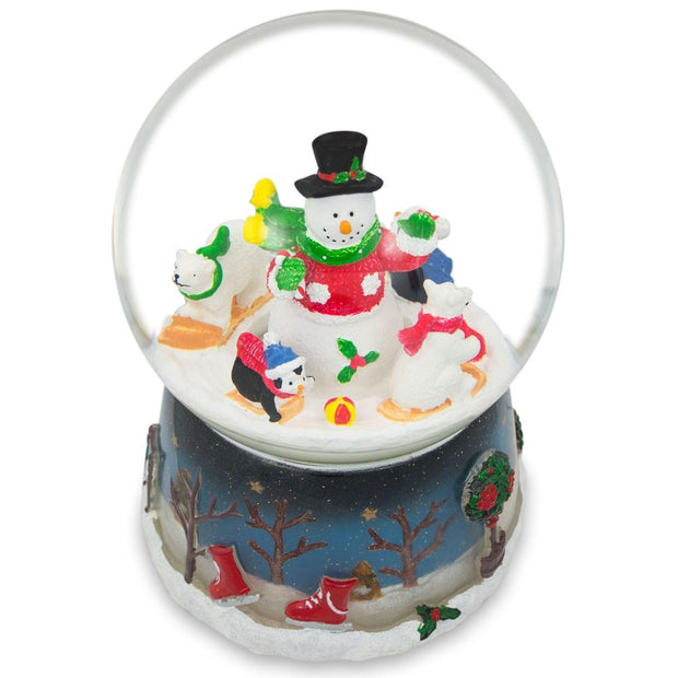 Buy Online Gift Shop Snowman with Polar Bears and Penguins Rotating Musical Water Globe