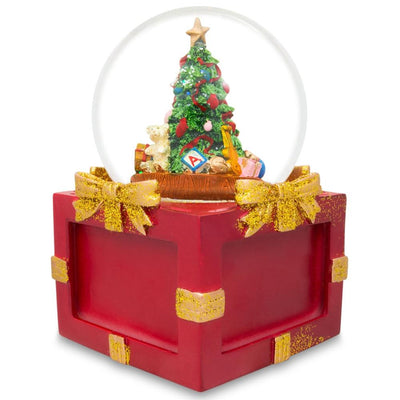 Insert 4 Pictures in a Christmas Tree Snow Globe Music Box by BestPysanky