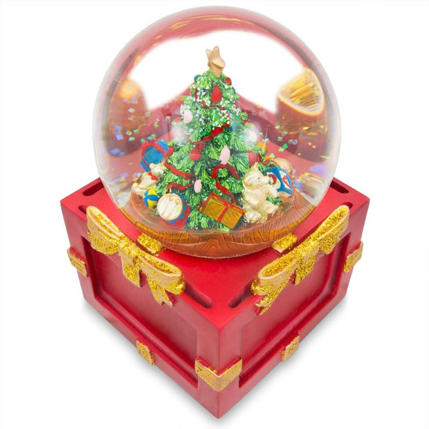 Insert 4 Pictures in a Christmas Tree Snow Globe Music Box