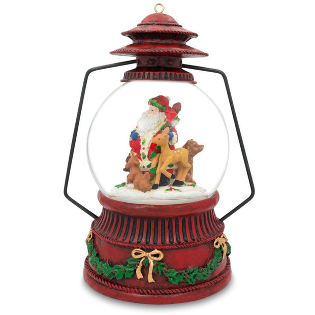 Red Lantern with Santa and Forest Animals Musical Water Snow Globe Figurine by BestPysanky
