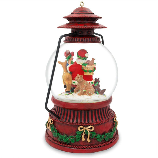 Buy Online Gift Shop Red Lantern with Santa and Forest Animals Musical Water Snow Globe Figurine