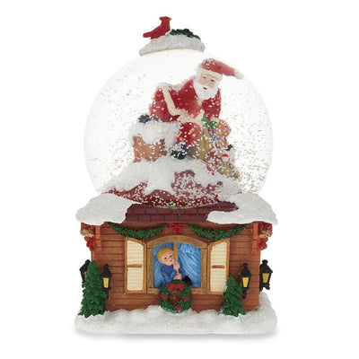 Santa on the Chimney with Christmas Gifts Musical Snow Globe by BestPysanky