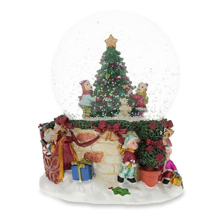 Cheerful Kids Decorating Christmas Tree Musical Water Snow Globe by BestPysanky
