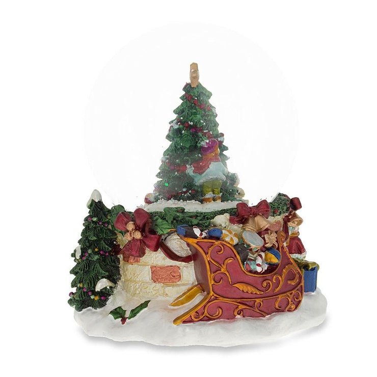Buy Online Gift Shop Cheerful Kids Decorating Christmas Tree Musical Water Snow Globe