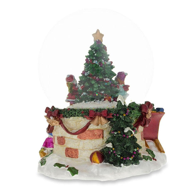 Cheerful Kids Decorating Christmas Tree Musical Snow Globe